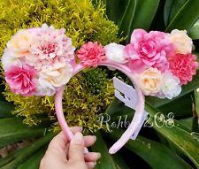 Disney Parks Peach & Pink Floral Crown Flower & Garden Minnie Ears Headband BNWT