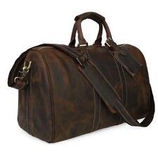 Men Real Leather Luggage Overnight Duffle Gym Bag Shoulder Bag Travel Handbag