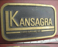 Vtg 70's SOLID BRASS KANSAGRA FARM SUPPLIES FARMER BELT BUCKLE