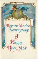 Artist impression 1915 New Year Globe Young Boy postcard 6574