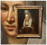 Prinzessin von Nassau. Antikes Damenportrait Ölgemälde Biedemeier um 1830 Siegel