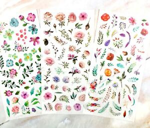 FLOWER & LEAF STICKERS Floral Rose Scrapbook Journal Diary Card Craft Decoration