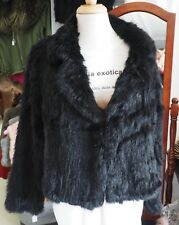 Beautiful Black Size 16 Hand Knitted Rabbit Fur Jacket/Cardigan - Classic Style!