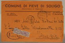 STORIA POSTALE RSI PACCO POSTALE 1 LIRE USATO COME ORDINARIO 1944 TREVISO #SP565