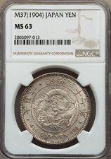 J005 Japan Meiji silver Yen 1904, M37, NGC MS63