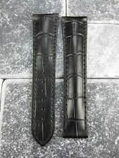 OMEGA 18mm Black Leather Deployment Strap Black Stitch Watch Band Seamaster x1