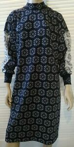 KENWALL vintage ladies size 20 dress shift black and white knit winter