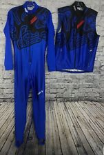 Sugoi Mens Full Body Suit One Piece Long Sleeve & Vest Blue Red CyclIng M RARE
