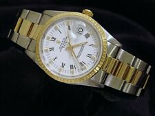 Men Rolex Date 18K Gold Stainless Steel Watch White Roman Dial Oyster Band 15223