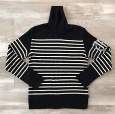 Mens JPG Jeans Jean-Paul Gaultier Logo Stripe Turtleneck Sweater Size Large Blk