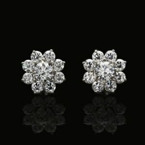 1.5Ct Created Round Diamonds 2 in 1 Flower Jacket Stud Earrings 14K White Gold