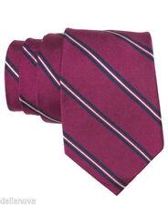 NWT Ralph Lauren Cranberry Wine Purple Blue Striped Tie 100% Silk