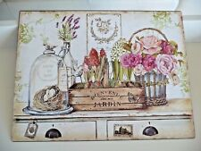Shabby Blechschild Wandbild Bild Bienvenue Dans Mon Jardin Retro Stil 25x33c NEU