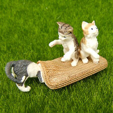 New listing 3 Cat Kitty Kitten Fairy Garden Terrarium Dollhouse Figurine Shelf Decor Toy