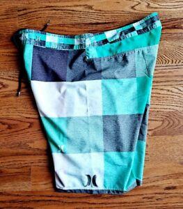 Hurley Phantom Board Surf Shorts Swimming Fishing Trunks Mens Size 38 Green/Gray