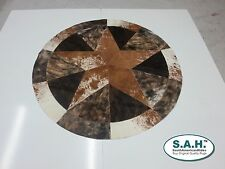 New Rug Leather Star Cow Hide Patchwork Area Round Carpet 60''