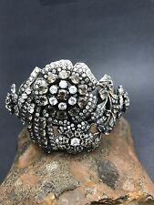STERLING SILVER CUFF smoky quartz and CZ handcrafted in India FREE SHIPPING!!