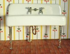DOLLHOUSE PORCELAIN KITCHEN SINK, 1920's STYLE, METAL LEGS, PIPE, FAUCETS, MORE