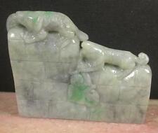 Certified Black Green 100% Natural A Jade jadeite Display Dinosaur Dragon 730558