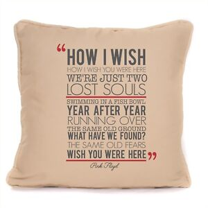"Pink Floyd Gift Wish You Were Here Lyrics Fan Cotton Blend 18"" Cushion Cover"