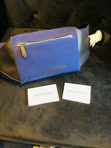 Balenciaga Belt Bag Cotton Leather Blue Made In Italy