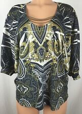 One World P L Petite Baroque Dolman Chain Link Collar Knit Sweater Blouse h