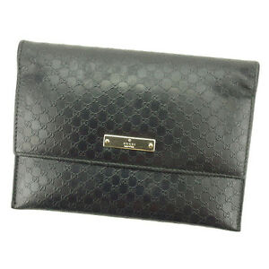 Gucci Wallet Purse Bifold Black Woman unisex Authentic Used T2184