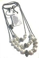 WHITE HOUSE BLACK MARKET GLASS PEARL & PAVÉ-FIREBALL SHORT NECKLACE-NWT
