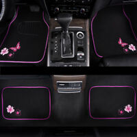 Car Floor Mat Universal Pink Black Butterfly 4 PCS For Honda Hyundai Toyota Ford