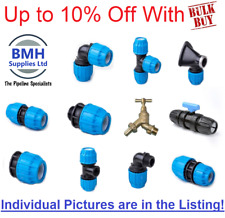 """Plastic MDPE Compression Fittings - 20mm-32mm/1/2""""-1"""" BSP WRAS, Bulk Discounts!!"""