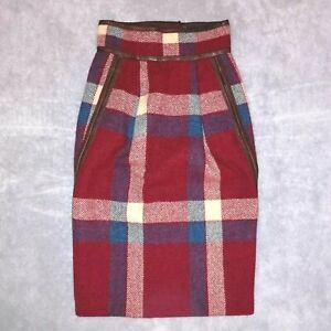 Vintage Dsquared2 Women's XS/UK6/Eu 38 100% Wool Tartan Fully Lined Pencil Skirt