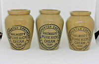 Set Of 3 Victorian Cream Pots Hailwoods Manchester Stoneware Kitchenalia