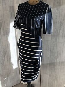 Zara Woman Navy & White Striped Stretchy Pencil Dress Small Immaculate Condition