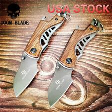 Couteau chasse pliant mini poche tactique couteaux survie manche bois outil main