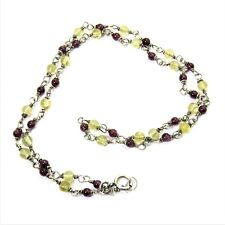 """Sterling Silver Wire Link Necklace with Garnet and Citrine Beads - 16"""""""