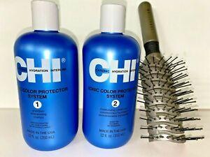 Chi Ionic Color Protector Shampoo & Moisturizing Conditioner 12oz Sebastan Brush