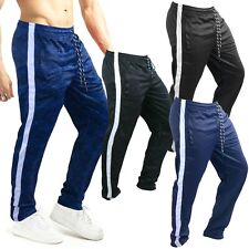 MENS JOGGING TROUSERS TRACKSUIT BOTTOMS SILKY JOGGERS STRIPED GYM SPORTS PANTS