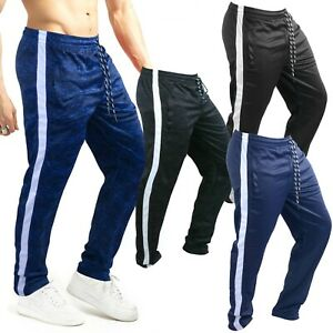 MENS TRACKSUIT BOTTOMS  JOGGING TROUSERS  SILKY JOGGERS STRIPED GYM SPORTS PANTS