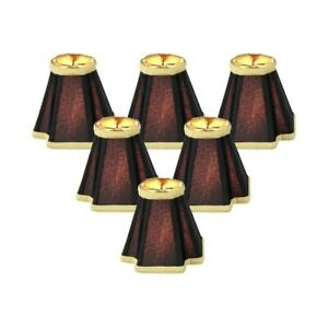 Set Of 6 Black With Gold Liner Chandelier Clip-On Lampshade 2x5x5