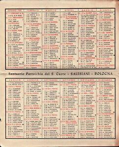 1960 - CALENDARIO TASCABILE PARROCCHIA DEL SACRO CUORE SALESIANI BOLOGNA