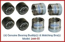 (4) 2.441 Boat Trailer Bearing Buddy Stainless Steel w/ Protective Bra (2 Pairs)