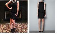 NEW ZARA COMBINED FITTED PEPLUM BLACK DRESS STRETCHY FABRIC ELASTANE SIZE SMALL