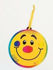 2 Smiley Face Scratch Art Ornaments Kit Craft Kid Smile