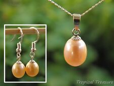 Peach Pink Pearl Pendant & Earring set + 40cm 925 SOLID Silver chain