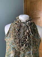mela loves london Green Paisley Design Ruffled Sleeveless Short Dress Size S