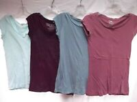 vtg lot 4 tunic longer length T-shirt scoop V neck 100% cotton S M blue purple
