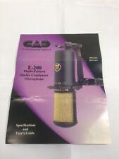 Cad Professional MicroPhones E-200 Multi-Pattern Studio MIcrophone User Guide