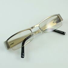 Unisex Khan Clear Lens Glasses Rectangular Frame Silver Yellow Half Rim 1028