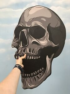 Giant MDF Grey Halloween Skull B Monotone Spooky Decoration Prop Party HW REJECT