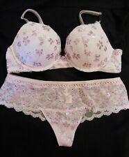 Victoria's Secret Dream Angel Shine Lace Lilac Purple Push Up 36B Bra&Panty Set